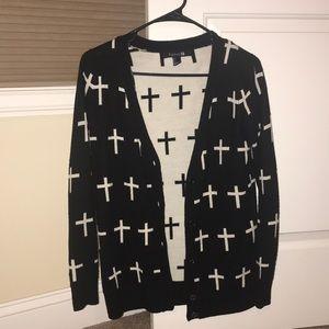 Black/white cross sweater size small